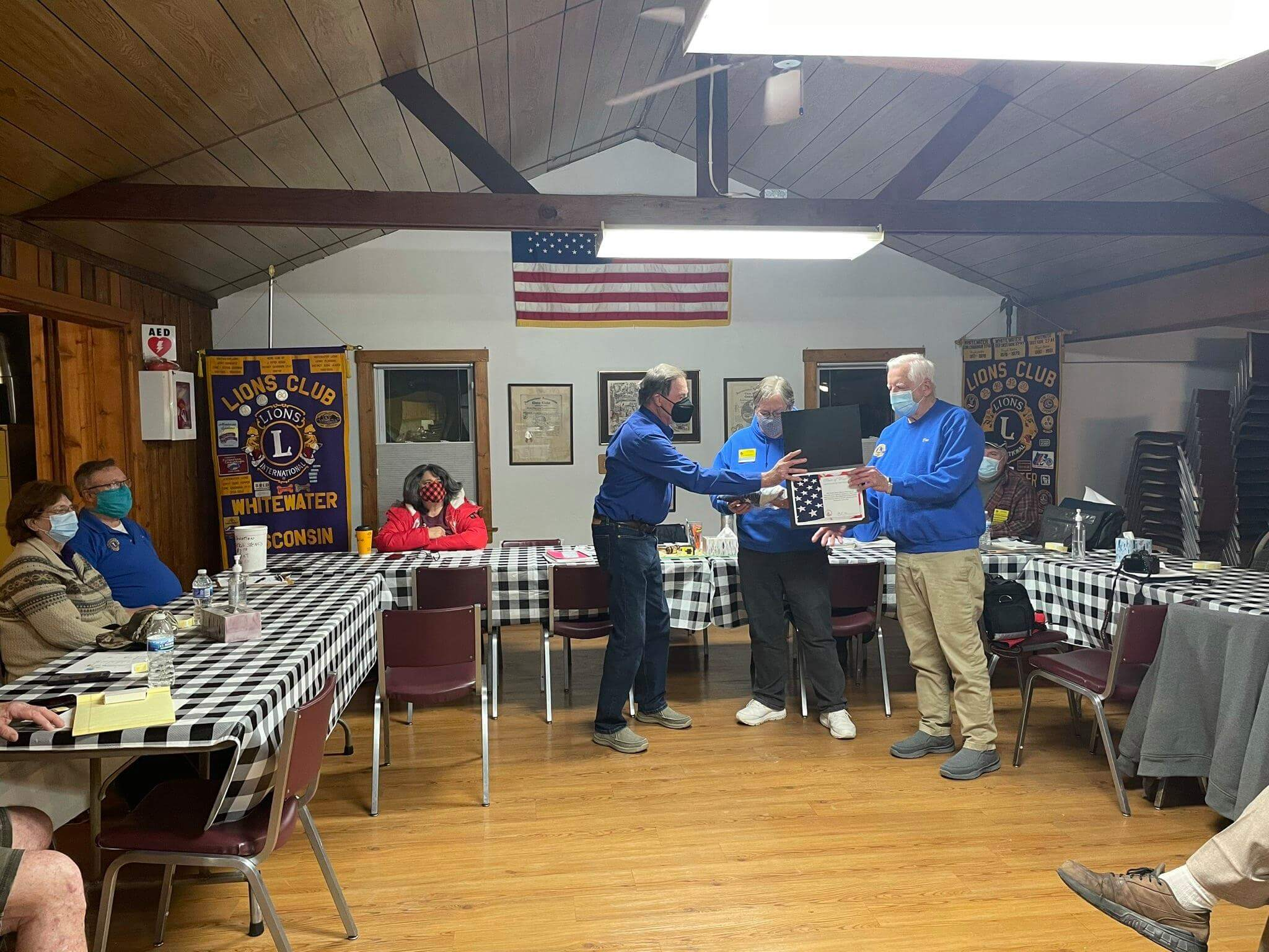 Whitewater Lions Club flag presentation